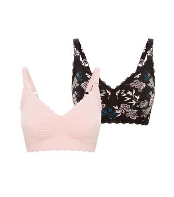 Maternity 2 Pack Black and Pink Bras