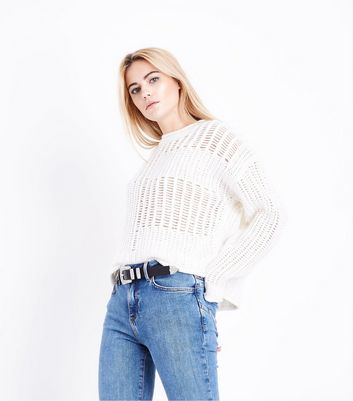 Cream Grid Knit Jumper