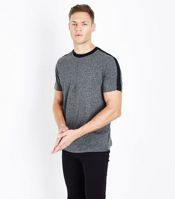 Grey Contrast Stripe Shoulder T-Shirt