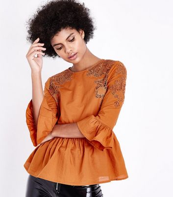 Tall Rust Crochet Shoulder Peplum Top