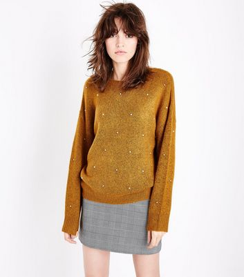 Mustard Yellow Pearl Embellished Jumper