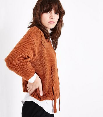 Light Brown Threaded Lace Up Jumper