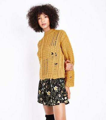 Mustard Ladder Cable Knit Jumper