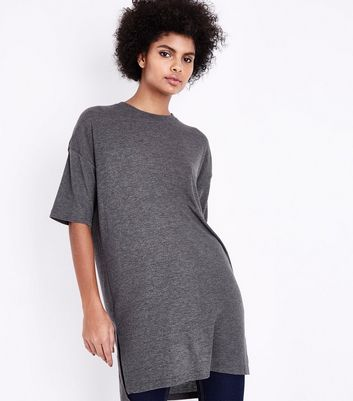 Dark Grey Side Split Longline T-Shirt