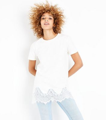 White Lace Hem Oversized T-Shirt