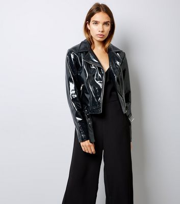 Black Patent Biker Jacket