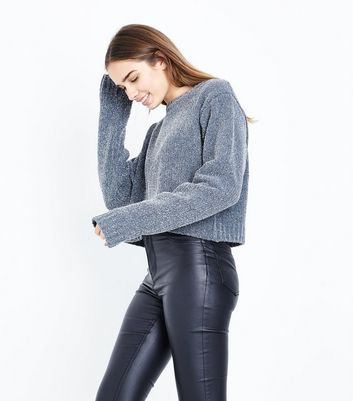 Grey Glitter Chenille Cropped Jumper