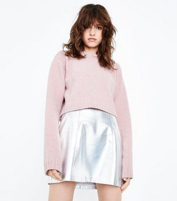 Shell Pink Glitter Chenille Cropped Jumper