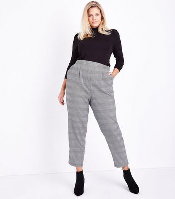 Curves Black Check Tapered Trousers