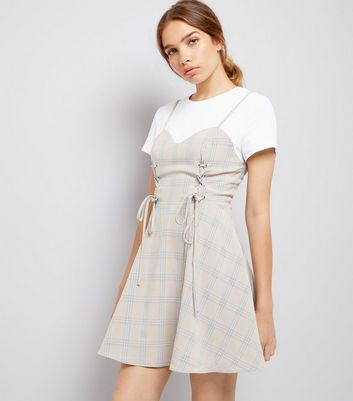 White Check Print 2 in 1 Corset Dress