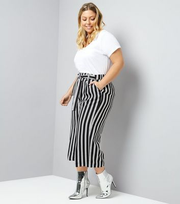 Black Stripe Cropped Trousers