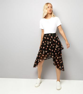 Black Spot and Floral Print Wrap Midi Skirt