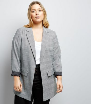 Curves Grey Check Blazer