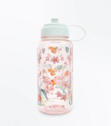 Pink Floral Print Water Bottle