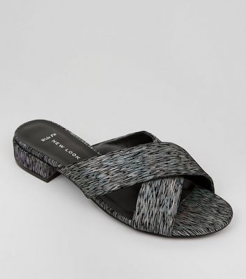 Wide Fit Black Iridescent Cross Strap Mules