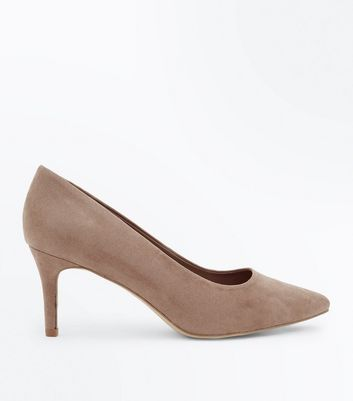 Wide Fit Mink Suedette Pointed Courts