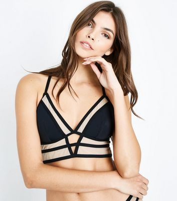 Black Mesh Strappy Bralet