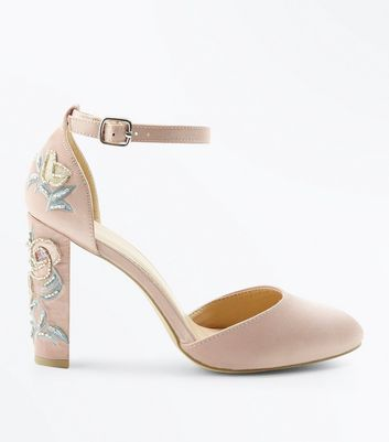 Wide Fit Nude Satin Embellished Block Heel Courts