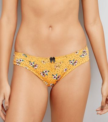 Yellow Floral Lace Brazilian Brief