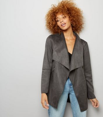 Dark Grey Suedette Waterfall Jacket