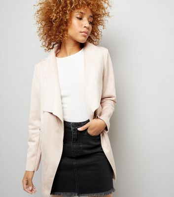 Pink Suedette Waterfall Jacket