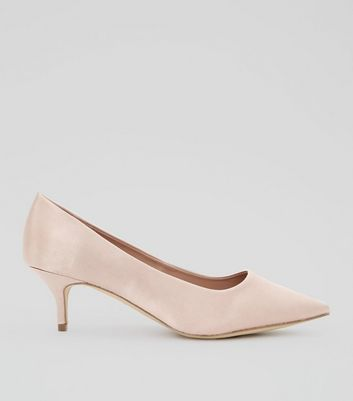 Wide Fit Cream Satin Court Shoes