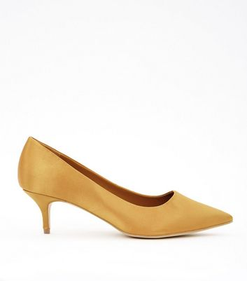 Wide Fit Yellow Satin Kitten Heel Court Shoes
