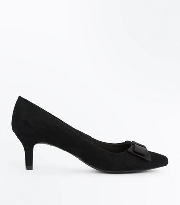 Wide Fit Black Comfort Suedette Bow Kitten Heels