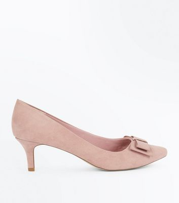 Wide Fit Pink Comfort Suedette Bow Kitten Heels