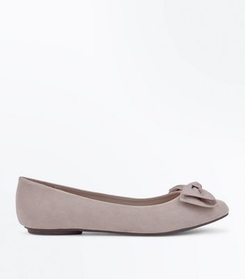 Extra Wide Fit Grey Suedette Bow Ballet Pumps