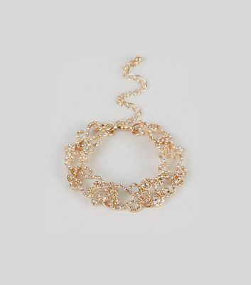 Gold Filigree Gem Embellished Bracelet