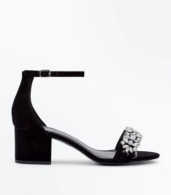 Black Suedette Embellished Low Block Heel Sandals