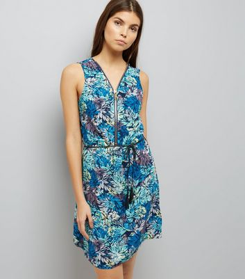 Apricot Turquoise Palm Tree Print Dress