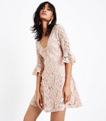 Pink Lace Lattice Front Skater Dress