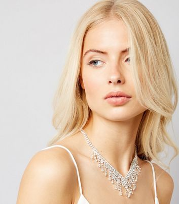 Silver Diamante Dropdown Bib Necklace
