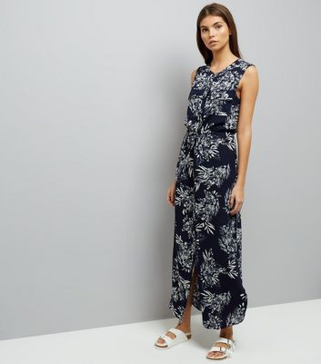 Apricot Navy Leaf Print Maxi Dress