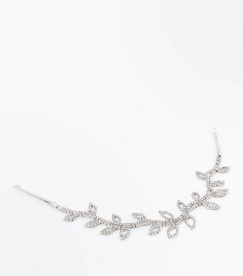 Silver Sparkly Leaf Vine Hair Slide
