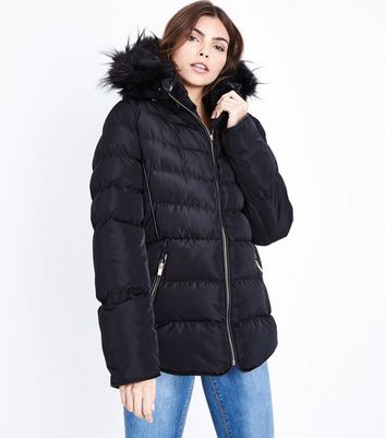 Blue Vanilla Black Piped Hooded Puffer Jacket