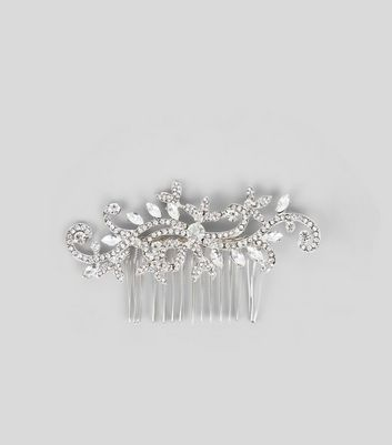 Silver Floral Swirl Gem Hair Comb