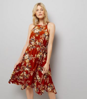 Red Floral Print Hanky Hem Midi Dress