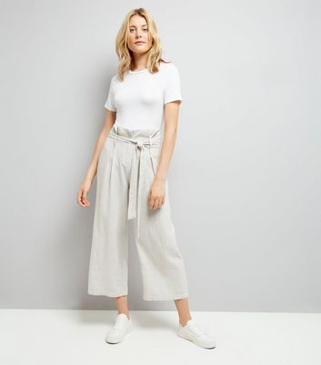 Cream Stripe Tie Waist Trousers