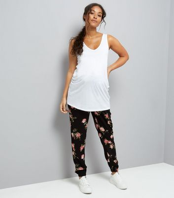 Maternity Black Floral Printed Joggers