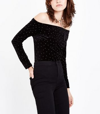 Black Studded Velvet Bardot Neck Body Suit