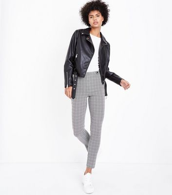 Black Check Popper Side Skinny Trousers