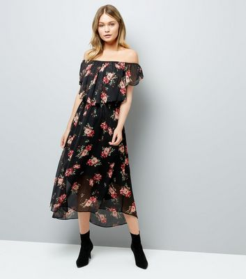 Black Floral Print Frill Trim Bardot Neck Midi Dress