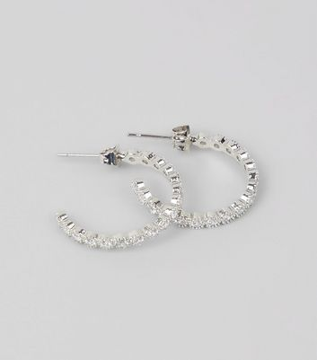 Crystal Cubic Zirconia Hoop Earrings