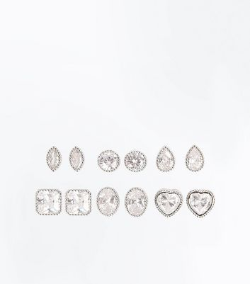 6 Pack Cubic Zirconia Mixed Shape Stud Earrings