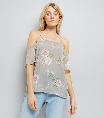 Tall Grey Floral Print Cold Shoulder Top
