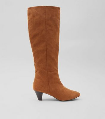 Tan Suedette Knee High Heeled Boots
