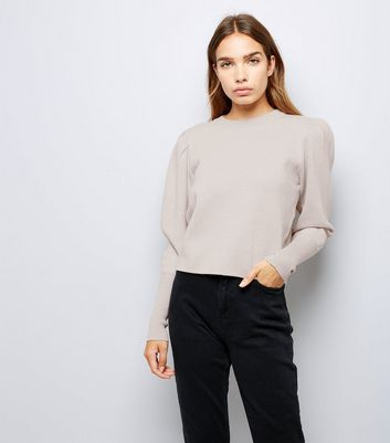 Shell Pink Glitter Puff Sleeve Jumper